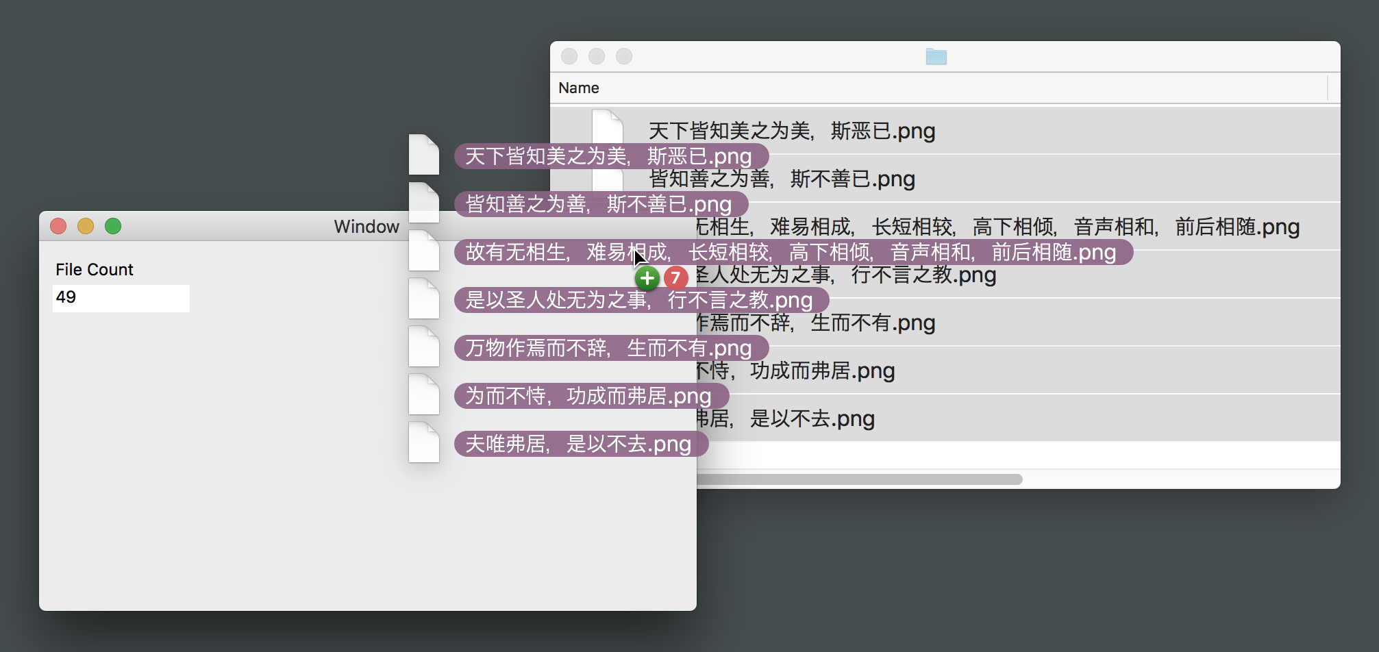 Figure 1: Dragging-and-Dropping multiple files into a window from the Finder.